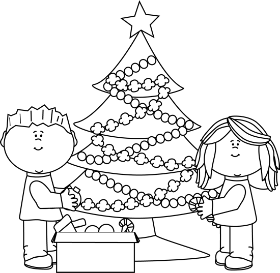Decoration clipart black and white Christmas Decorating Black Decorating Kids
