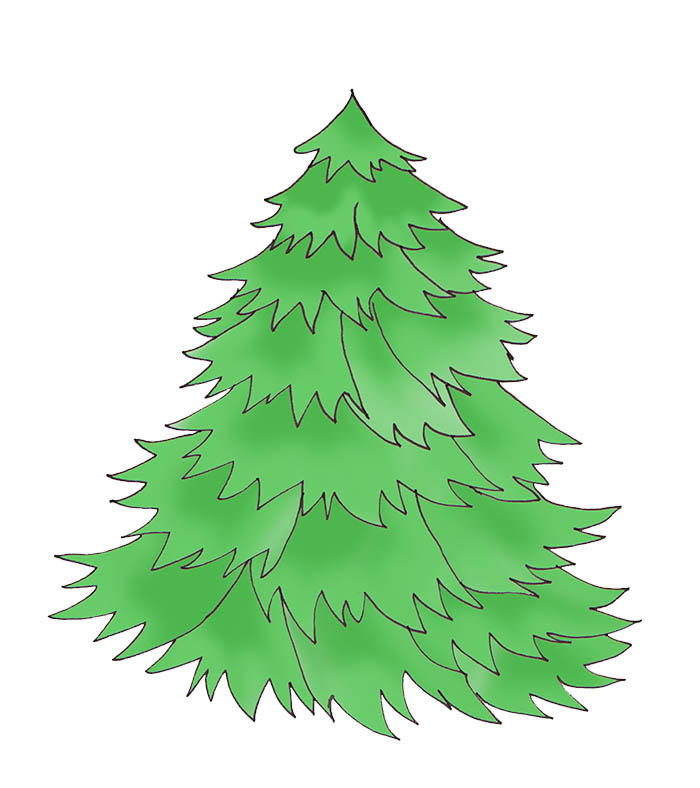 Classic clipart christmas tree Tree without tree Clip green