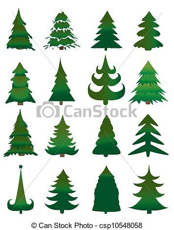 Christmas Tree clipart logo Clip trees Set of Christmas