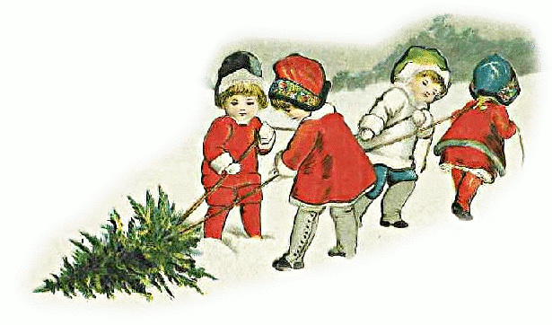 Christmas Tree clipart scene Dragging /holiday/Christmas/trees/kids_dragging_tree Kids clipart collection