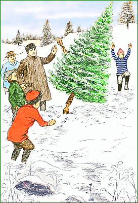 Christmas Tree clipart scene Down Page Tree Chopping Art