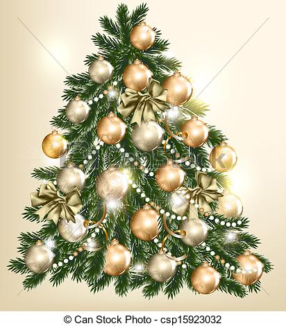 Christmas Tree clipart vintage Christmas design of vector design