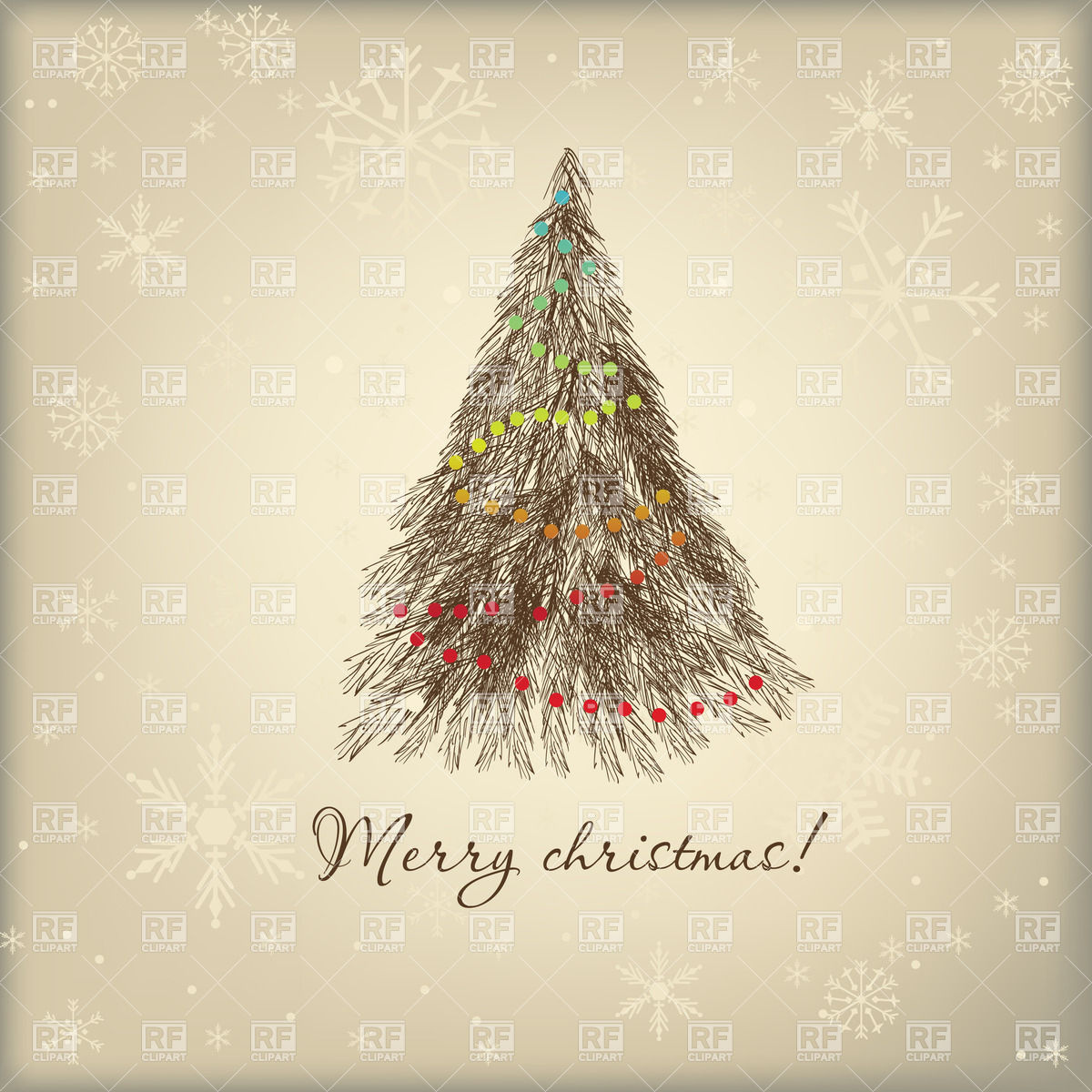 Christmas Tree clipart vintage Looking clipart vintage Christmas Stylized