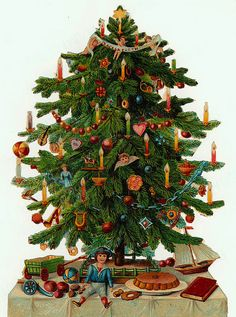 Christmas Tree clipart vintage CARD in were CHRISTMAS commercial