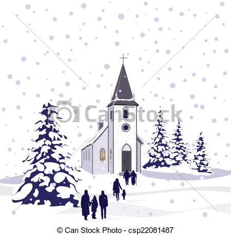 Winter clipart church scene Scene Winter small country Church