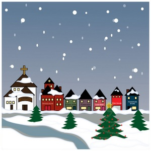 Winter clipart church scene The Village Town  Winter