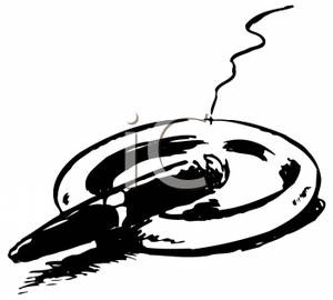 Cigar clipart black and white And Ashtray A White on