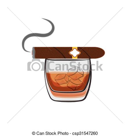 Cigar clipart bourbon Art ice and cubes and