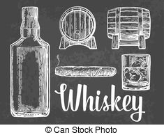 Cigar clipart bourbon  cigar glass cubes ice