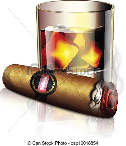 Cigar clipart cuban cigar Clipart  csp16018854 Whiskey Clip