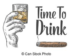 Cigar clipart vintage cigar And for whiskey vintage glass