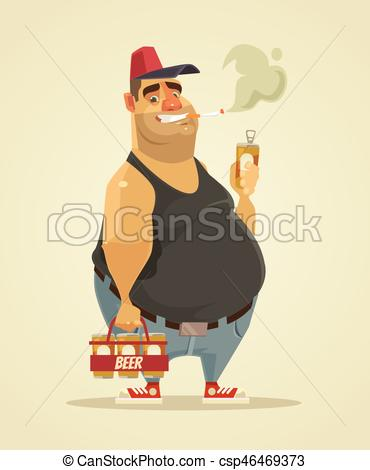Cigarette clipart cigar Happy smiling man and beer