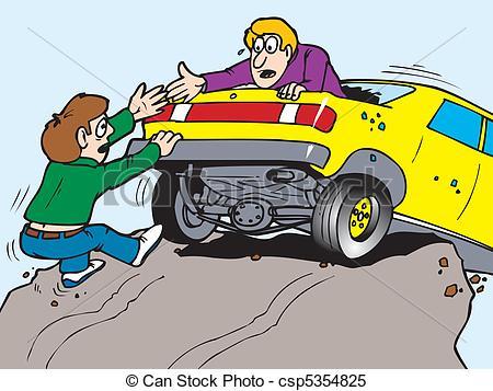 Cilff clipart car Over cliff of Vector car