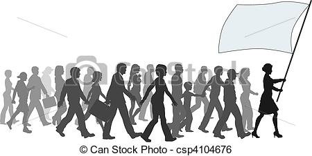 Crowd clipart walking Clip Leader Follow Art Leader