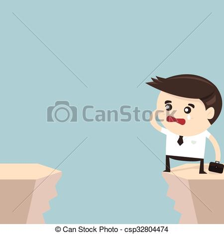 Cilff clipart gap Cliff gap Businessman looking of
