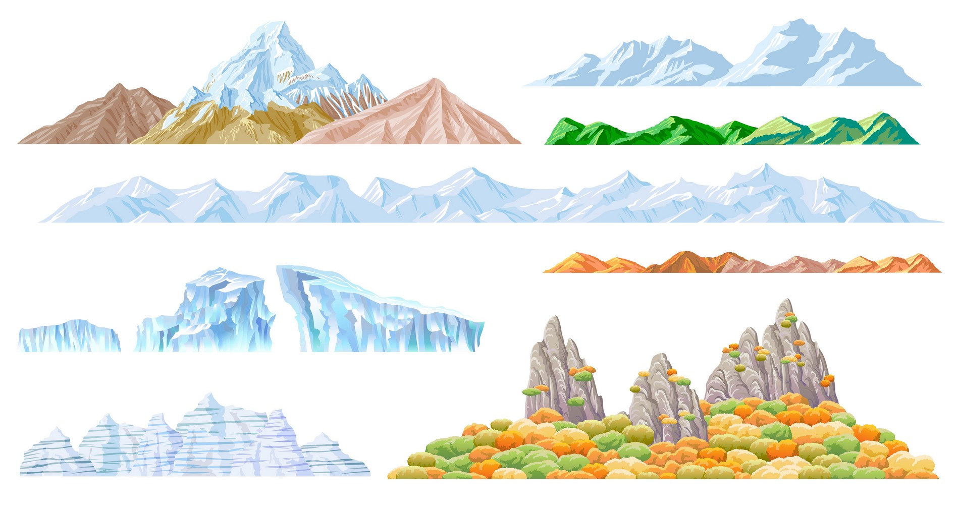 Drawn landscape Clipart – Mountain Art Download
