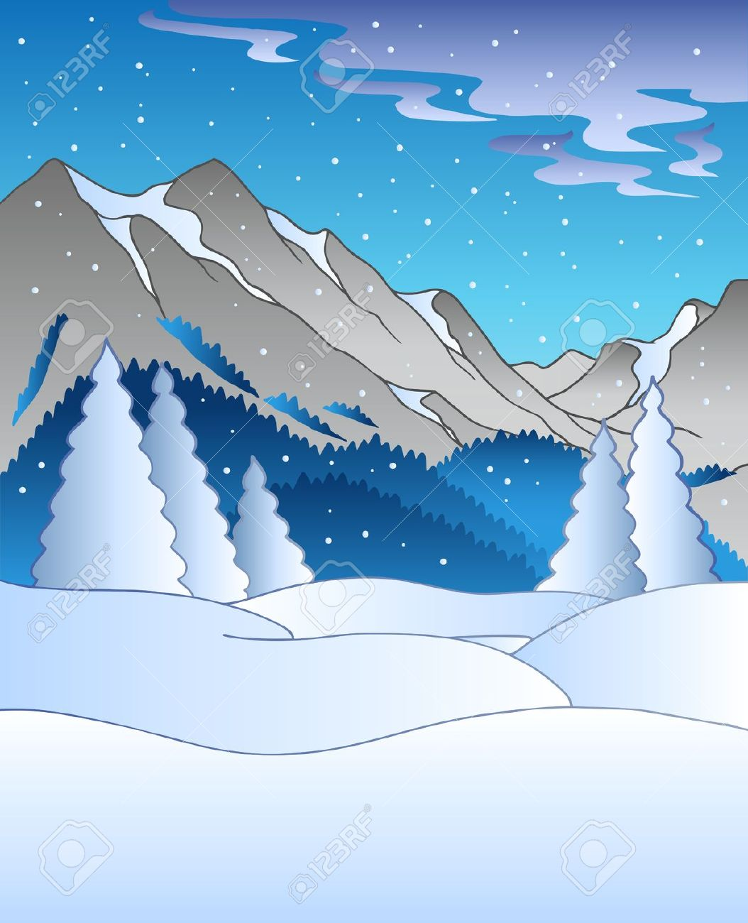 Drawn landscape Clipart – Winter Art Download