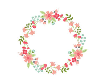 Wreath clipart digital Floral Circle Floral wreath Flowers