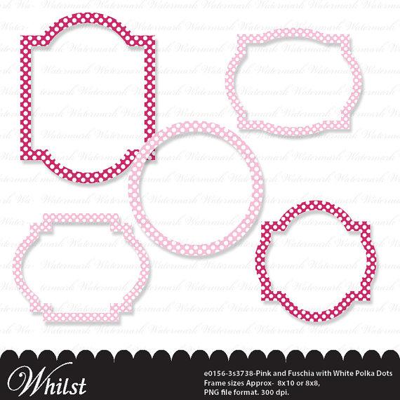 Circle clipart light pink Polka art white dots fuschia