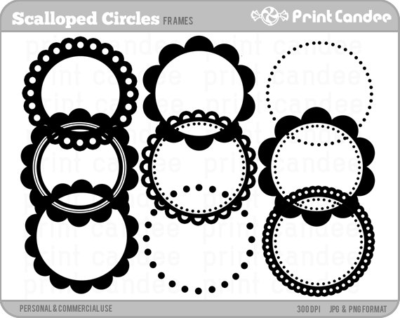 Circle clipart scalloped circle Clipart and Frames Scalloped Use