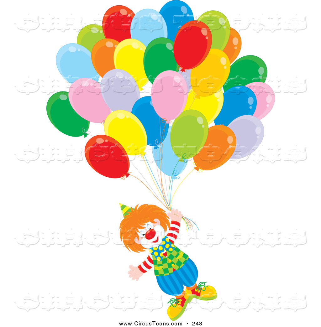 Balloon clipart carnival Circus Clown with Balloons Floating