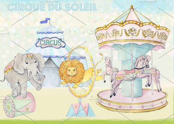 Carousel clipart carnival Images Creative Illustrations on Market