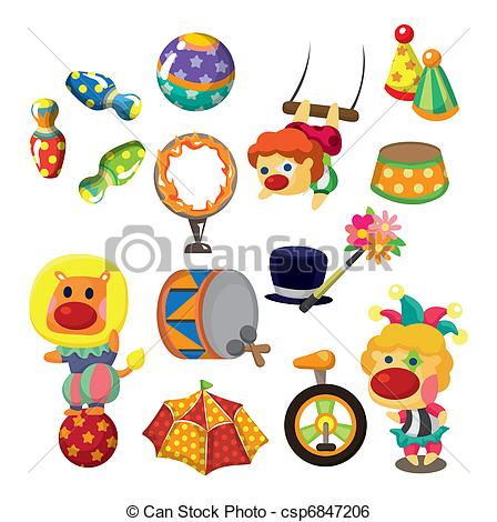 Circus clipart cartoon Collection happy  icons Vector