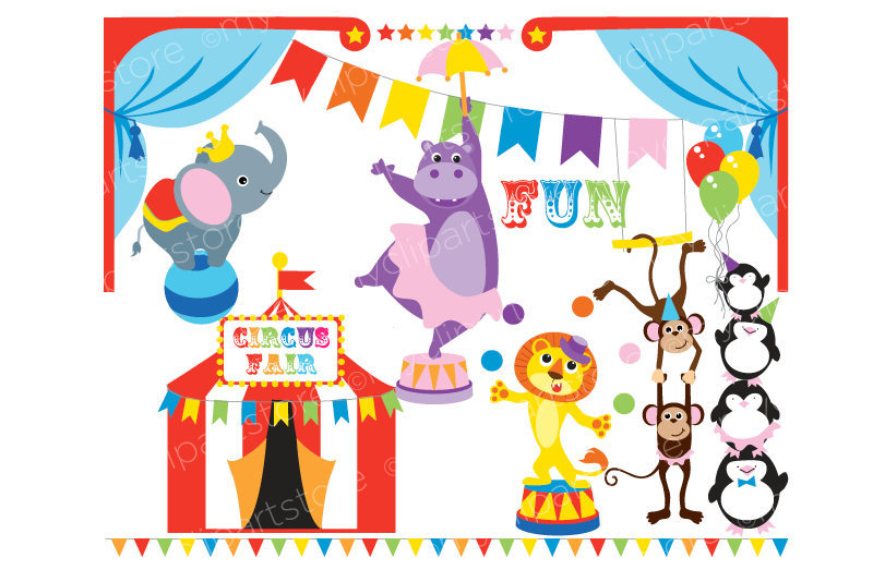 Penguin clipart circus Digital This Tent Circus Clipart