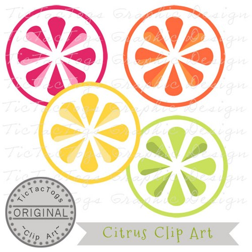 Grapefruit clipart orange wedge CU Personal and Lime Orange