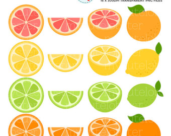 Grapefruit clipart orange wedge Grapefruit lemon clip set Lemon