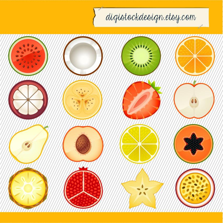 Pineapple clipart single fruit Fruit clipart Slice digital images