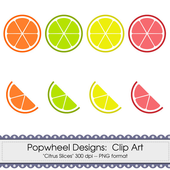 Citrus clipart sliced Citrus Pack Slices Clip Digital