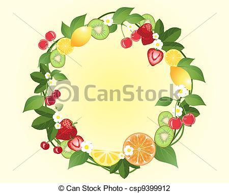 Wreath clipart citrus Vector illustration Illustration citrus of