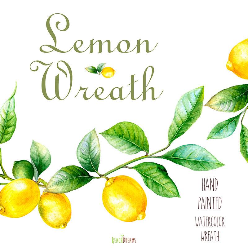 Wreath clipart citrus Watercolor Hand Lemon painting art