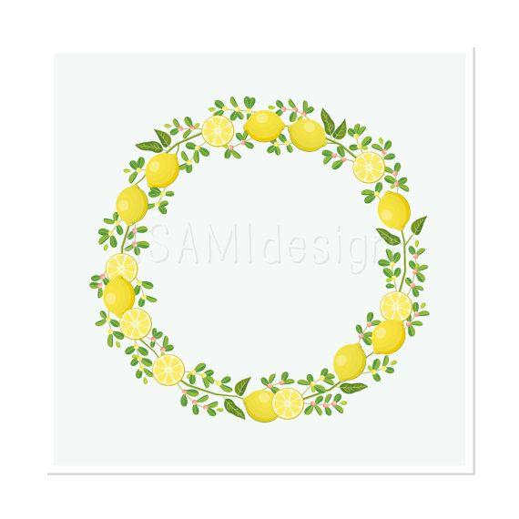Wreath clipart citrus Pinterest Lemon citrus Clip Wreath