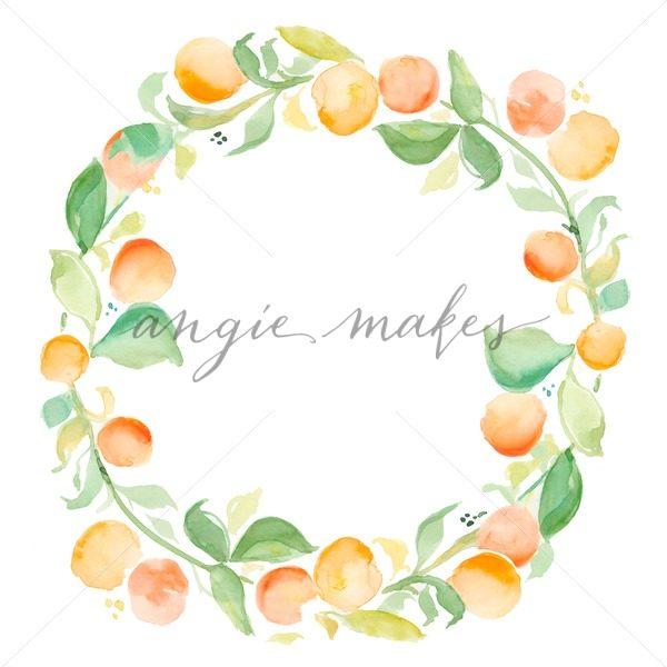 Wreath clipart citrus Watercolor Oranges Stock Wreath Wreath