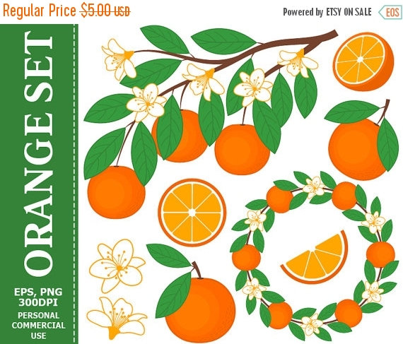 Wreath clipart citrus Digital Art Citrus Fruit Leaves