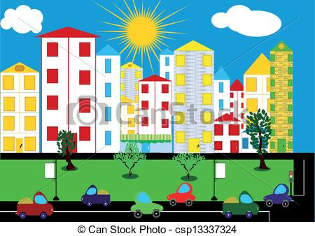 City clipart city background Vector Color city csp13337324 city