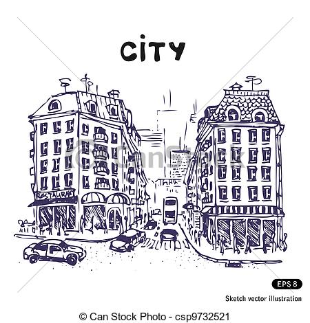 Drawn city Street Vector city of isolated