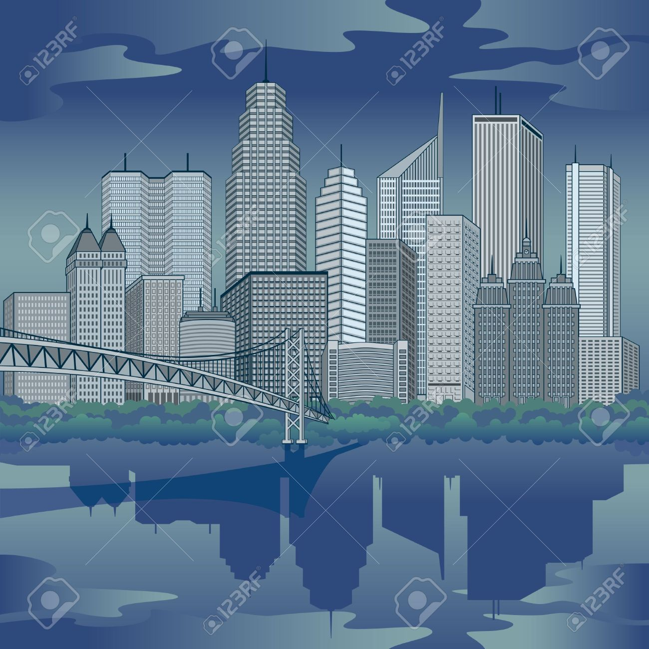 City clipart night time Clipart Nighttime water water clipart