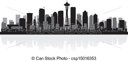City clipart business building Csp15016353 city USA silhouette Seattle