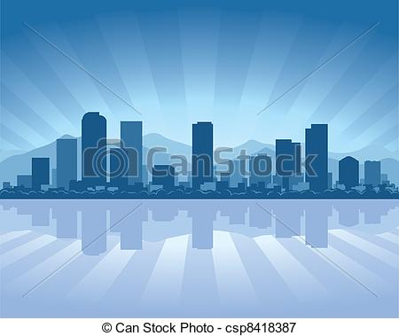 Cityscape clipart denver skyline Water skyline Illustration of with