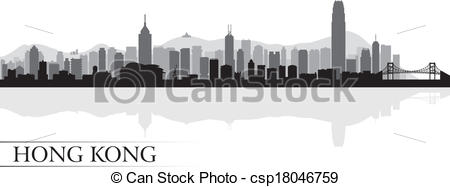 Cityscape clipart hong kong skyline Background city silhouette city csp18046759