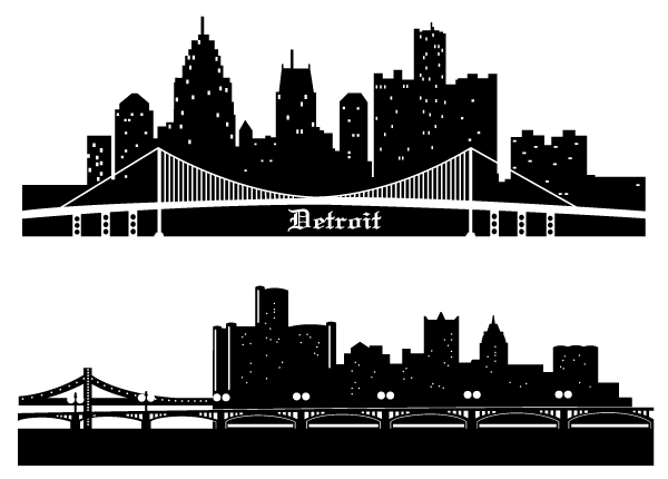 Cityscape clipart letter Free Free Silhouettes Free Detroit