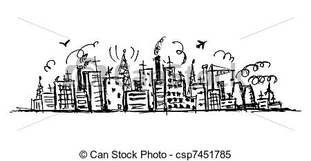Cityscape clipart one Design sketch your for drawing