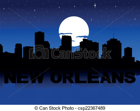 Cityscape clipart moon Orleans Orleans vector reflected reflected