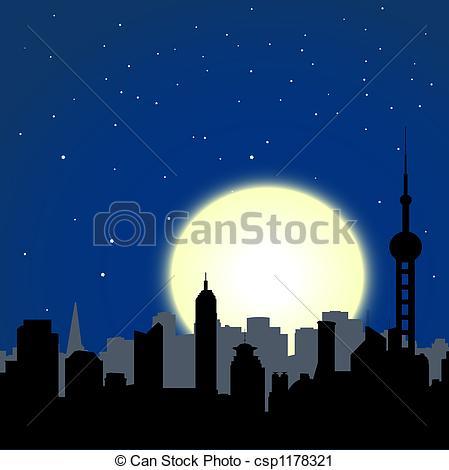 Cityscape clipart moon  city cityscape buildings moon