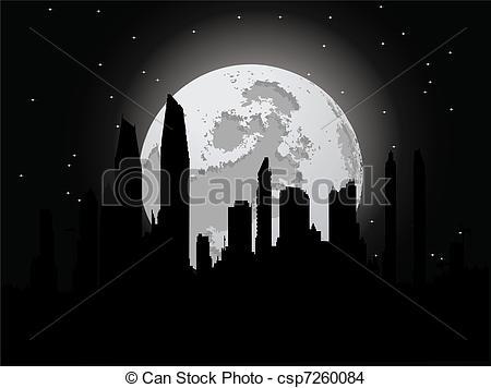 Cityscape clipart moon City Night moon city Night