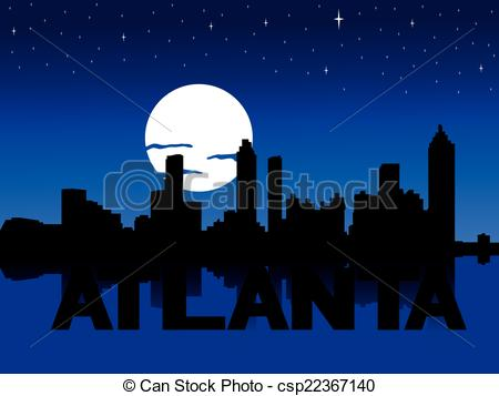Cityscape clipart moon Moon of with Atlanta with