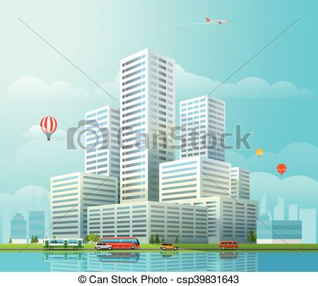 Cityscape clipart office building Different cityscape Vector of